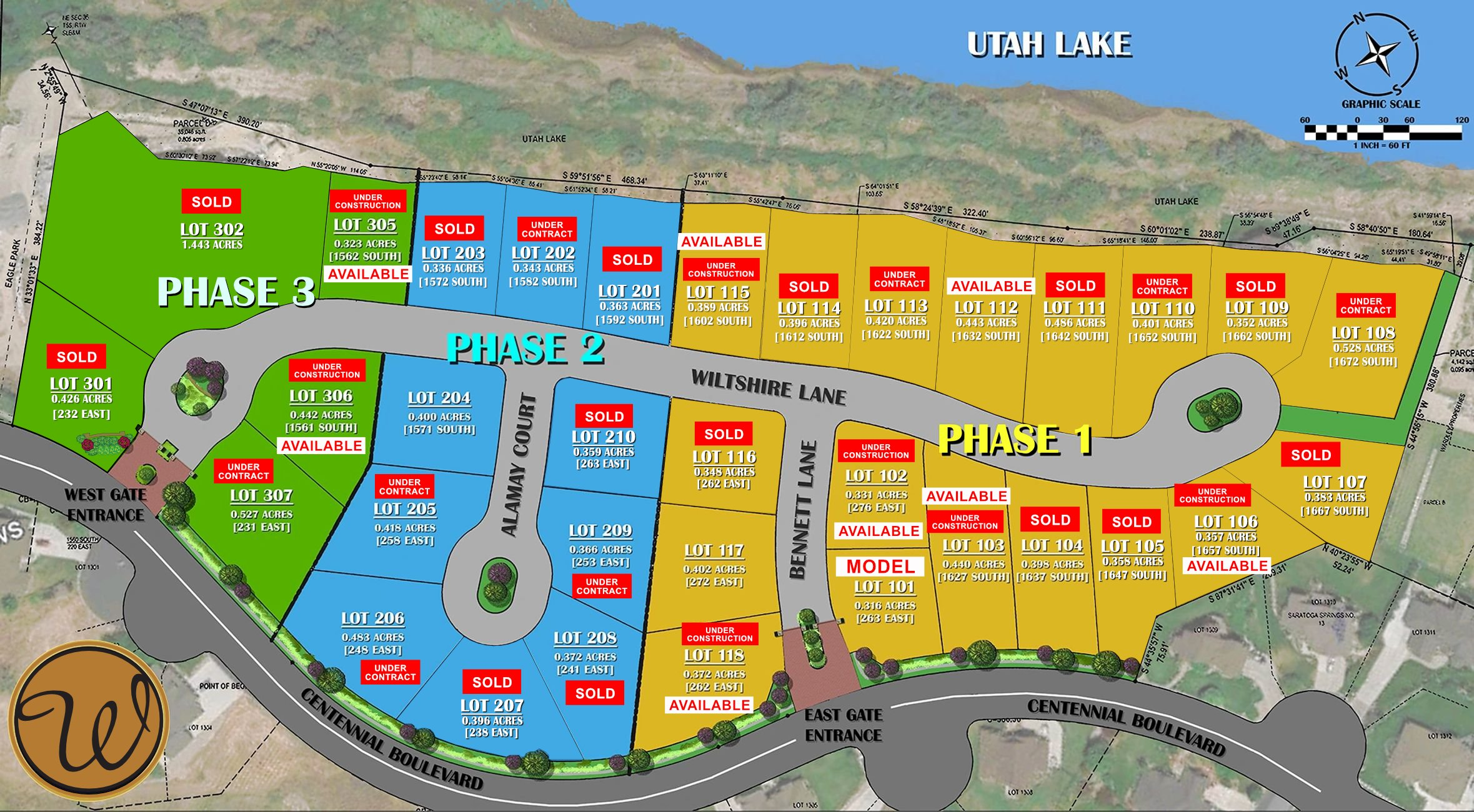 MAP WARDLEY HOME WITH LOTS SOLD AND UNDER CONSTRUCTION AVAILABLE